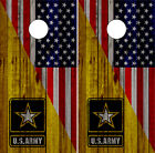 US Army Cornhole Wraps American Flag US Vinyl Board Skins Decals Bag Toss Game