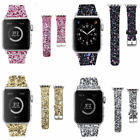 FOR Apple Watch Band Series 1 2 3 42-38-44-40mm Leather Glitter Bling WristStrap image