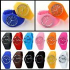 Men Women Jelly Multicolors Silicone Band Quartz Waterproof Sports Wrist Watch image