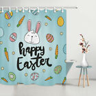 """Happy Easter Cute Bunny Eggs Design Waterproof Fabric Shower Curtain 71""""/79""""/84"""""""