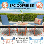Milano 3pc Outdoor Furniture Steel/rattan Coffee Table & Chairs Patio Garden Set