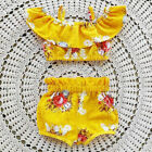 Toddler Baby Kids Girls Flower Ruffe Tops Shorts Summer Outfits Sunsuit Clothes