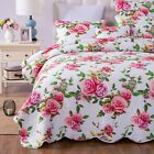 DaDa Bedding Romantic Roses Scalloped Bedspread Set - Lovely Spring Pink Floral image