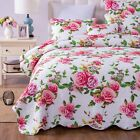 DaDa Bedding Romantic Roses Scalloped Cotton Bedspread Set - Spring Pink Floral image
