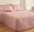 Luxurious Microfiber Bedspread Bed Cover Coverlet Loop Quilting BLUSH LIGHT PINK image