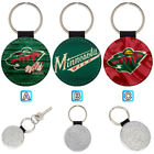 Minnesota Wild Leather Glitter Key Chain Ring Gift Silver Car $3.99 USD on eBay