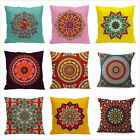 18x18'' Ethnic Style Pattern Cushion Cover Linen Cotton Boho Throw Pillow Case image