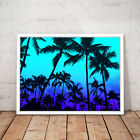 LA California Palm Trees Sunset Blue Art Poster Print - A3 A2 A1 A0 Framed