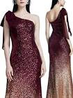 Ever-Pretty Women Sparkling Gradual Champagne Gold Sequin Mermaid Cap Sleeves
