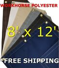 8' x 12' Workhorse Polyester Waterproof Breathable Canvas Tarp