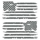 Set of 2 Silver Grey Distressed Tattered USA American Flag Decal Stickers