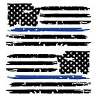 Set of 2 Black Thin Blue Line Distressed Tattered American Flag Decal Stickers