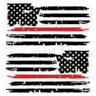 Set of 2 Black Thin Red Line Distressed Tattered American Flag Decal Stickers
