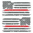 Set of 2 Silver Grey Thin Red Line Distressed USA American Flag Decal Stickers