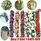 2x 8ft Artificial Rose Garland Silk Flower Vine Ivy Wedding Garden String Decor-