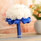 White Rose Flower Wedding Bouquet For Bridesmaid-foam Rose With Rhinestone Décor