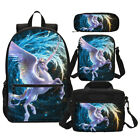 Amazing Unicorn Print Kids School Backpack Insulated Lunch Bag Pen Case Lot Gift