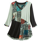 Parsley & Sage Women's Mixed Patterns Pieced Tunic Top- 3/4 Sleeve V-Neck Blouse