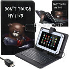 """Bear For 7.0"""" - 8.0"""" inch Tablet PU LeatherStand Case Cover With USB Keyboard US"""