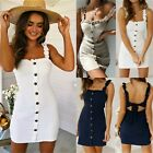 UK Womens Strappy Button Bodycon Sundress Ladies Summer Holiday Beach Mini Dress
