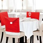 Red Christmas Chair Hat Non Woven Cover Set Holiday Supplies Decoration