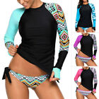 Women Long Sleeve UV Sun Protection UPF 50 Rash Guard Top 2 Piece Swimsuit Set