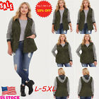 US Women's Plus Size Long Sleeve Coats Jackets Winter Patchwork Hoodie Outwear