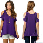 US Womens Cold Shoulder Short Sleeve Casual T-shirt Summer Blouse Tops Plus Size