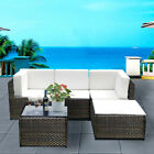 RATTAN GARDEN FURNITURE CORNER SOFA SET LOUNGER TABLE OUTDOOR PATIO CONSERVATORY