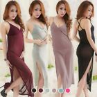 Used, Ladies Sheer Full Slip Long Slit Dress V Neck Low Cut See Through Sleepwear Sexy for sale  Shipping to Canada