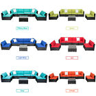 7 Pcs Garden Furniture Rattan Wicker Sofa Patio Couch Set Cushioned 8 Colors