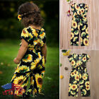 US Toddler Kids Baby Girls Sunflower Romper Bodysuit Jumpsuit Outfits Clothes