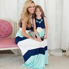 Mother Daughter Cotton Dress Fashion Family Striped Girls Women Clothings Outfit