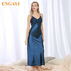 Long Sexy Night Dress Lace Plus Size Nightgown Silk Satin Spaghetti Strap S-4XL