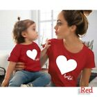 Family Matching Outfits Mother and Daughter Shirt T-shirt Heart Printed Clothes