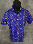 Mens SUSLO COUTURE Short Sleeve Shirt Blue Yacht Sailing Logos Slim Fit Button