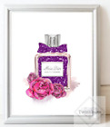Fashion Inspired Faux Glitter Miss Perfume Art Picture - A4 Print Only