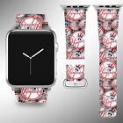 New York Yankees Apple Watch Band 38 40 42 44 mm Fabric Leather Strap 02 on Ebay