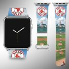 Boston Red Sox Apple Watch Band 38 40 42 44 mm Fabric Leather Strap 03 on Ebay