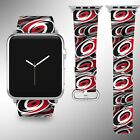 Carolina Hurricanes Apple Watch Band 38 40 42 44 mm Fabric Leather Strap 01 $29.97 USD on eBay