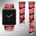 Detroit Red Wings Apple Watch Band 38 40 42 44 mm Fabric Leather Strap 01 $29.97 USD on eBay