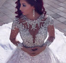 Sparkly Beading Long Sleeve Turke Bridal Wedding Dress Luxurious Formal Gown HOT