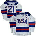 1980 USA Olympic Hockey #21 Mike Eruzione #17 O'Callahan Men's Hockey Jersey