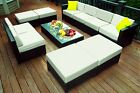 Black Wicker Patio Sofa Aluminum Outdoor Furniture Sectional All-Weather 1012