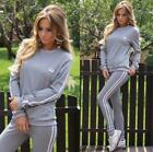 2018 Woman Active 2 Piece Sets Female Casual Hoodies Suit Long Sleeve Round Coll