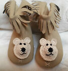 NEW TAN FAUX LEATHER FRINGE BOOTS SLIPPERs BOYS GIRLS BABY INFANT 0 3 6 MONTHS