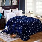 Bright stars bedspread blanket High Density Super Soft Flannel Blanke Portable