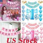 34 Pcs First Birthday Balloon Kit Party Decoration Foil Balloons Set Boy Girl Us