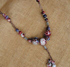 Retro ethnic style Handmade ceramic Beads pendant sweater chain necklace N368 image