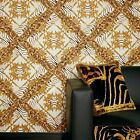 Versace Animal Plaid | Designer Animal Skin Effect Wallpaper in Gold, Orange & W